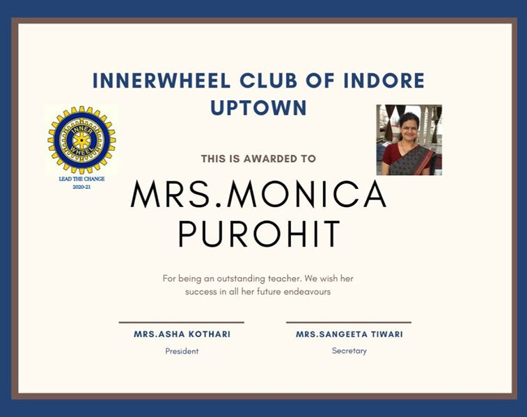 Monica Purohit - Inner Wheel Club Award 2015- 2016