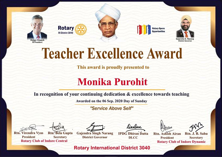 Monica Purohit - Rotary District 3040 Teacher Excellence Award