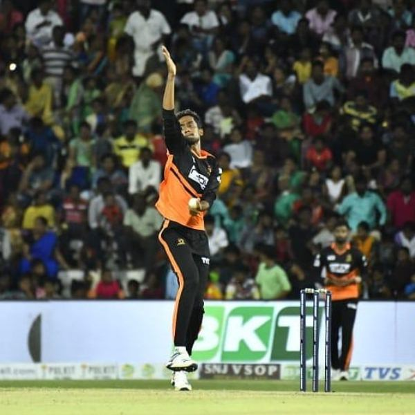 R Sai Kishore bowling during Tamil Nadu Premier League