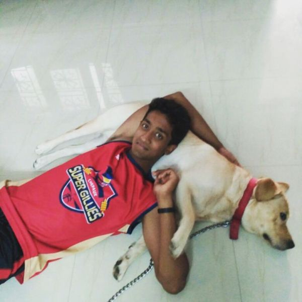 R Sai Kishore with his dog, Boo
