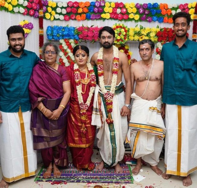 R Sai Kishore with his family during his sister's wedding