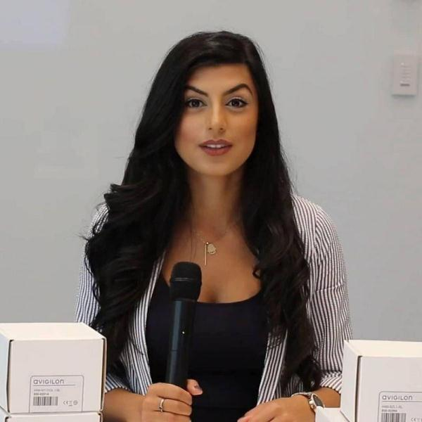 Shay Shariatzadeh during a product launch of her company