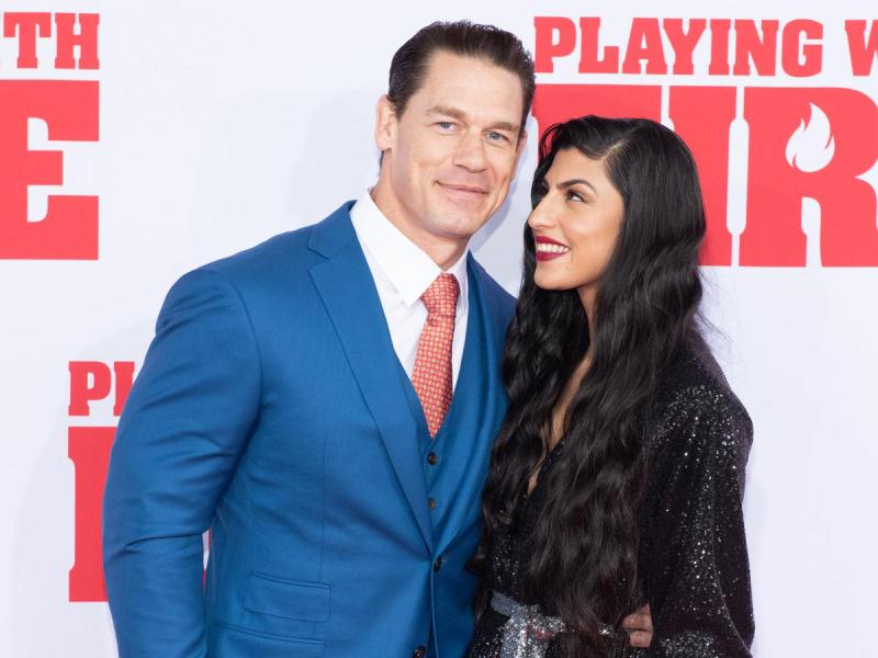 Shay Shariatzadeh with John Cena at the premiere of 'Playing with Fire'