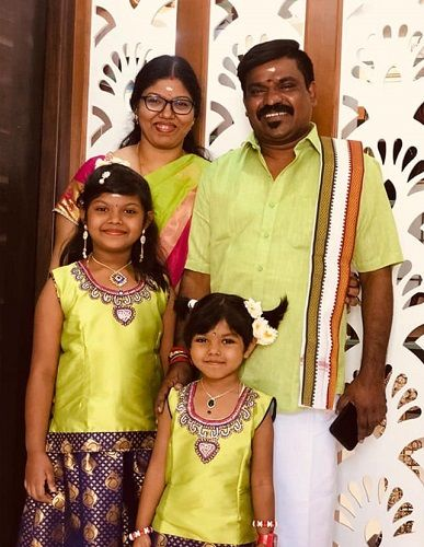 Velmurugan With His Wife and Two Daughters