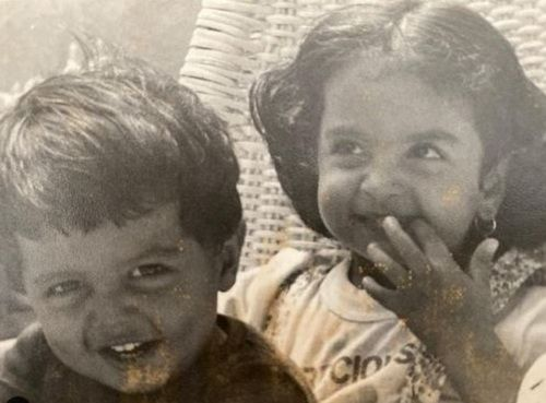 A Childhood Picture of Seema Khan (on the left) with her Brother