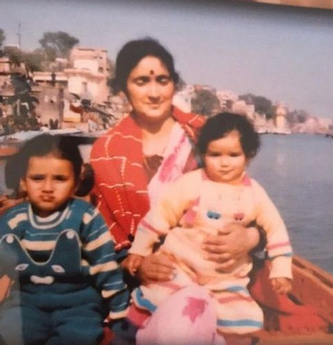 A Childhood Picture of Sukirti Kandpal (Sitting on her Mother's Lap) with her Sister and Mother