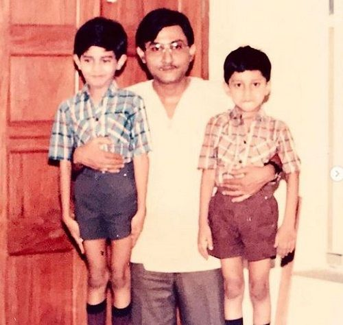 A Childhood Picture of Yash Sinha (on the left) with his Father and Brother