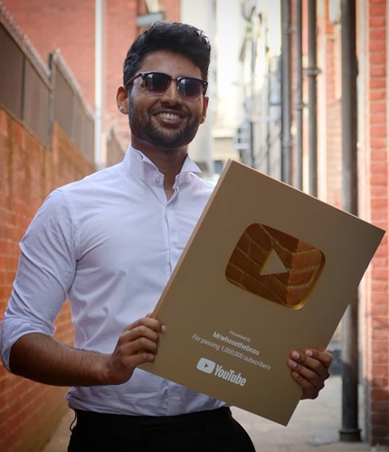 Arun Maini with the YouTube golden button for 1 million subscribers