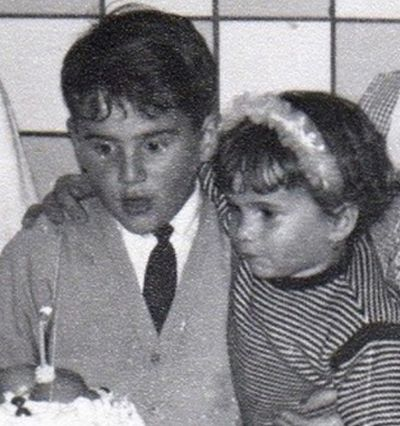 Childhood Picture of Lucia Galán with her Brother