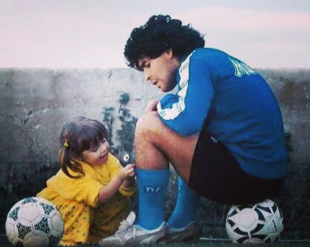 Childhood picture of Dalma Maradona with her father Diego Maradona