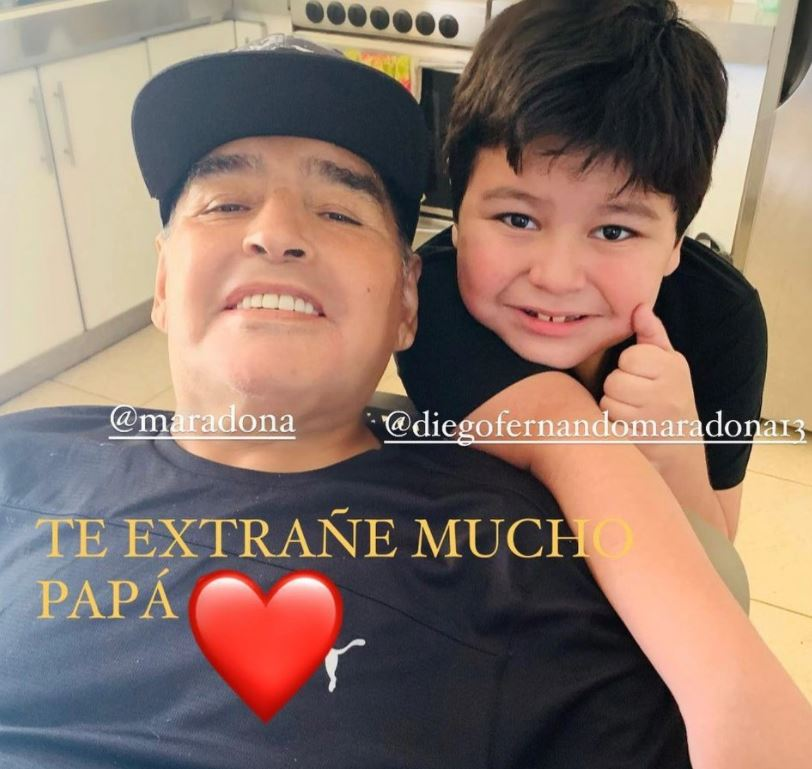 The last picture that Diego Maradona captured with his 7-years-old son Fernando
