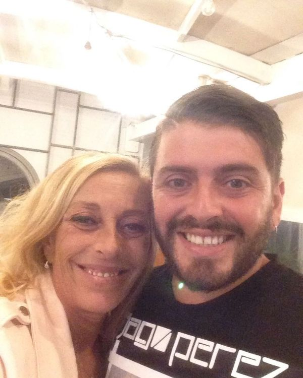 Diego Sinagra with his mother