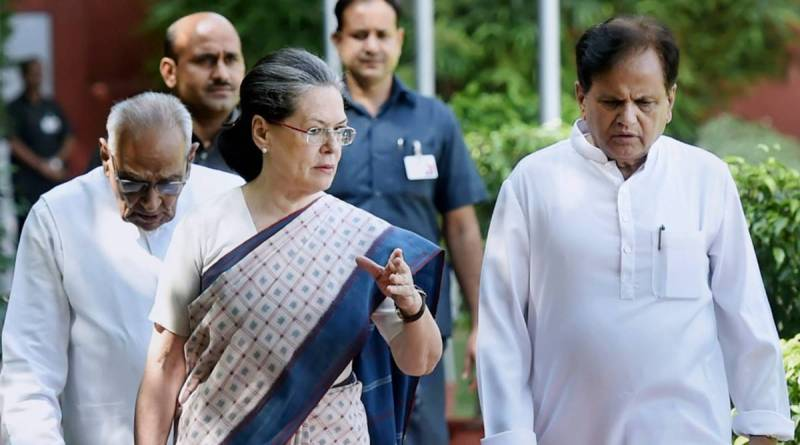 INC president Sonia Gandhi with Ahmed Patel
