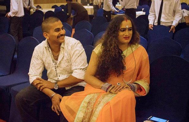 Laxmi Narayan Tripathi with Vicky Thomas