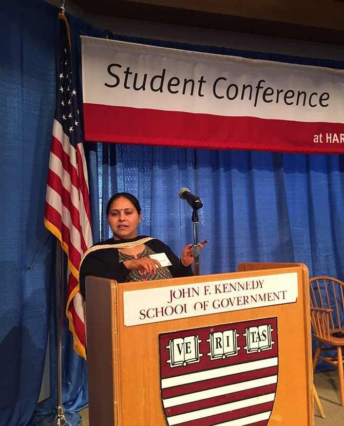 One of the pictures posted by Misa Bharti to substantiate her speech at Harvard University