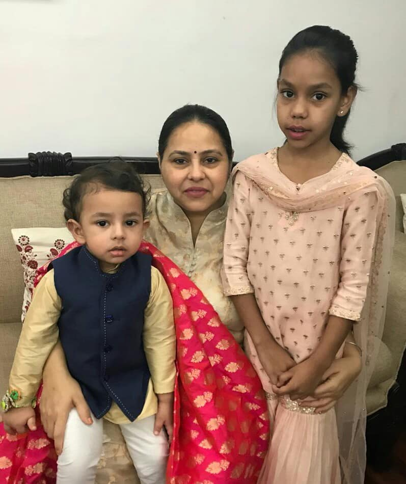 Misa Bharti with her son and daughter