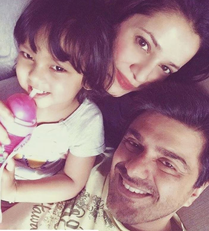 Neelam Kothari with her husband and daughter
