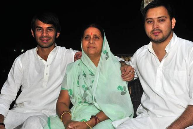 Rabri Devi with her sons
