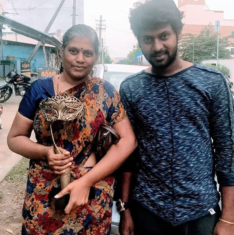 Rio Raj with his mother
