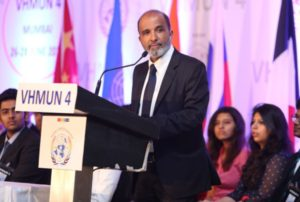 Sanjay Jha addressing the delegates at the 4th edition of VHNUM