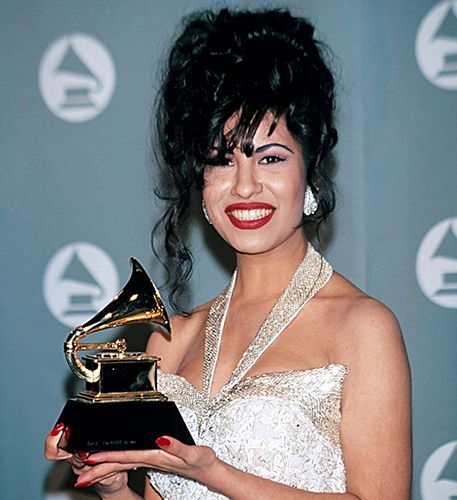 Selena Quintanilla with her Grammy Award