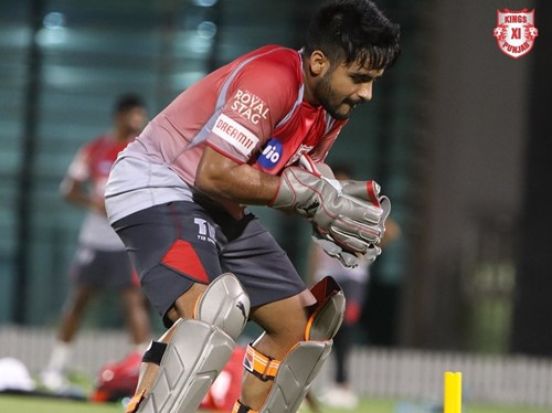 Simran Singh during field practice for KXIP