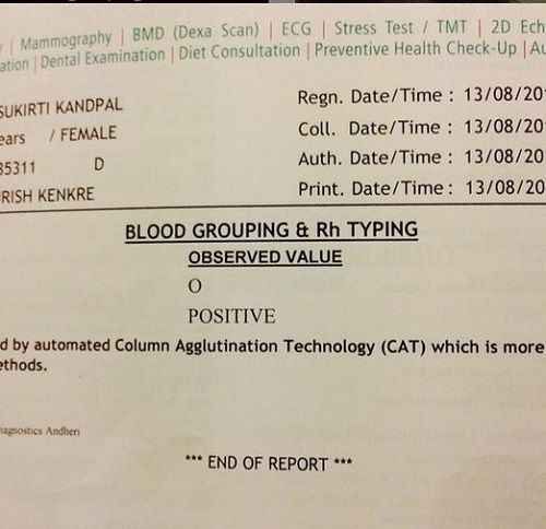 Sukirti Kandpal's Blood Group