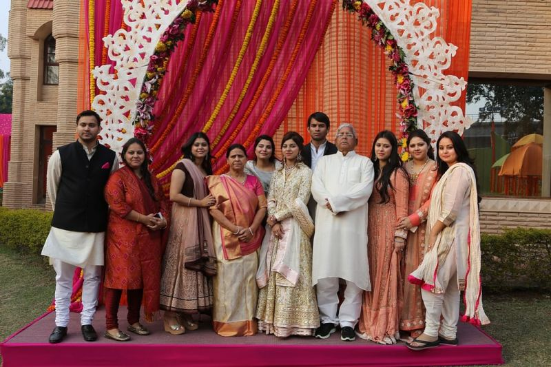 Rabri Devi with her husband and children at her youngest daughter, Raj Laxmi's, engagement ceremony in 2015