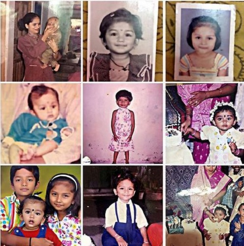 A Collage of Preethi Sharma's Childhood Picture