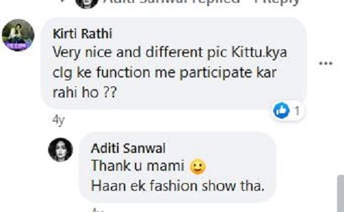 A Comment on Aditi Sanwal's Photo