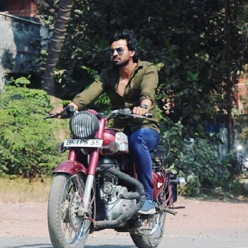 Aditya Ojha Riding his Motorcycle