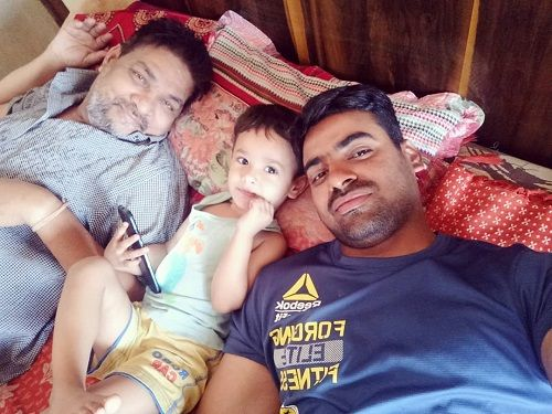 Aditya Ojha with his Father and Son
