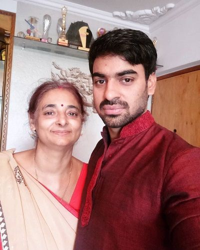Aditya Ojha with his Mother