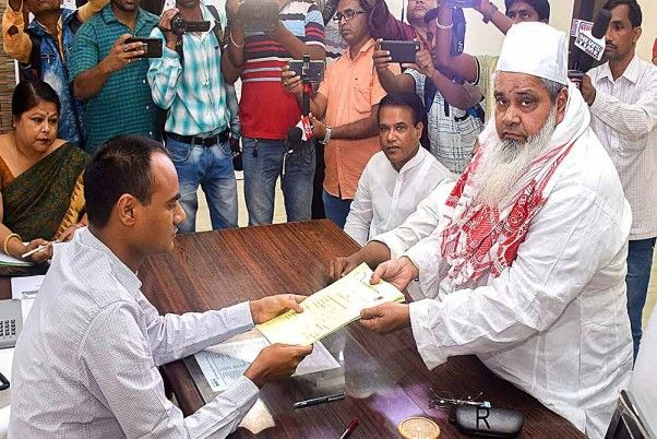 All India United Democratic Front (AIUDF) chief Badruddin Ajmal filing his nomination papers for contesting from Dhubri constituency in Lok Sabha elections