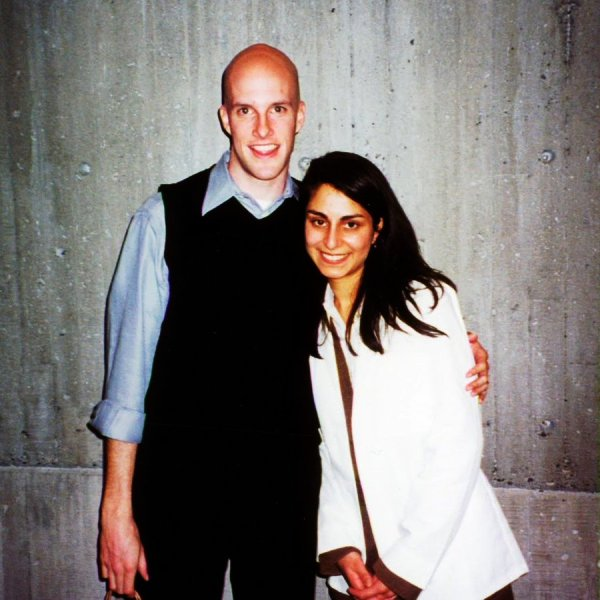 Celine Gounder with her husband in 2002