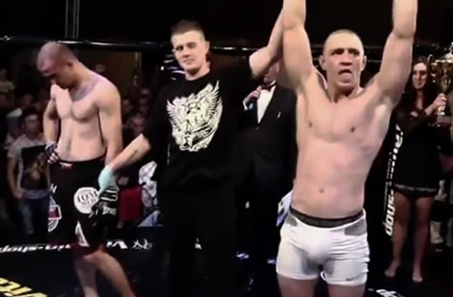 Conor McGregor's debut MMA fight against Gary Morris (extreme left)