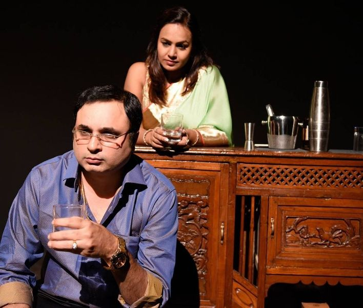 Jay Upadhyay in a play with his wife