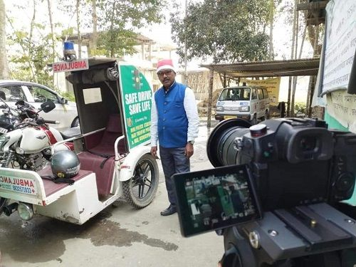 Karimul Haque with his motorcycle ambulance