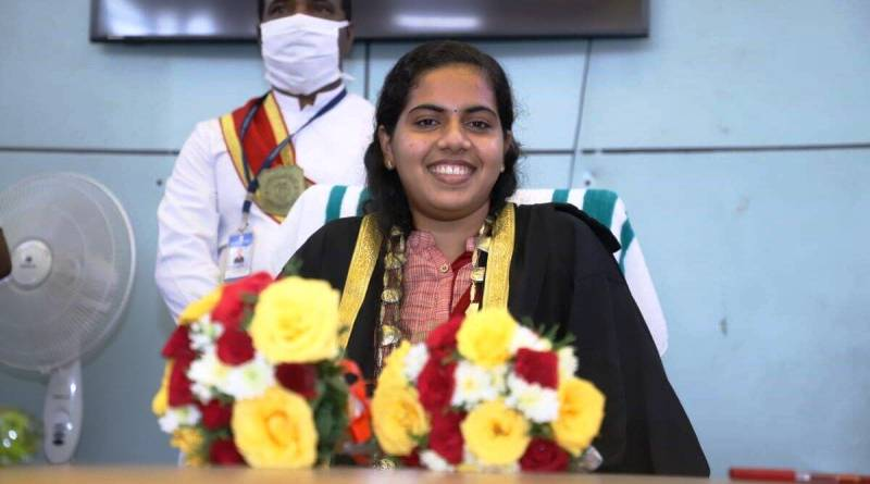 Mayor of Thiruvananthapuram, Arya Rajendran sitting in her office