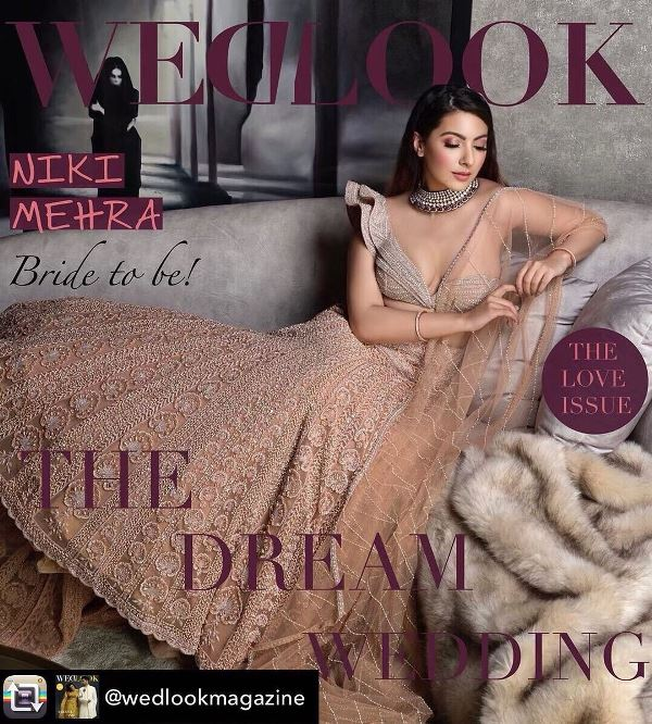 Niki Mehra on the cover page of Wedlook magazine