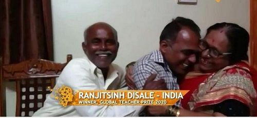 Ranjitsinh Disale with his Parents