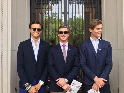 Rory Farquharson (left) with his friends during the photo day at Harvard University