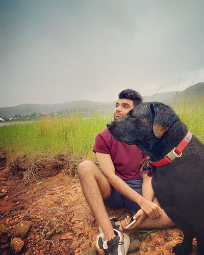Salil Jamdar with his dog, Simba