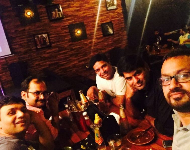 Saurabh Dwivedi hanging out with his colleagues