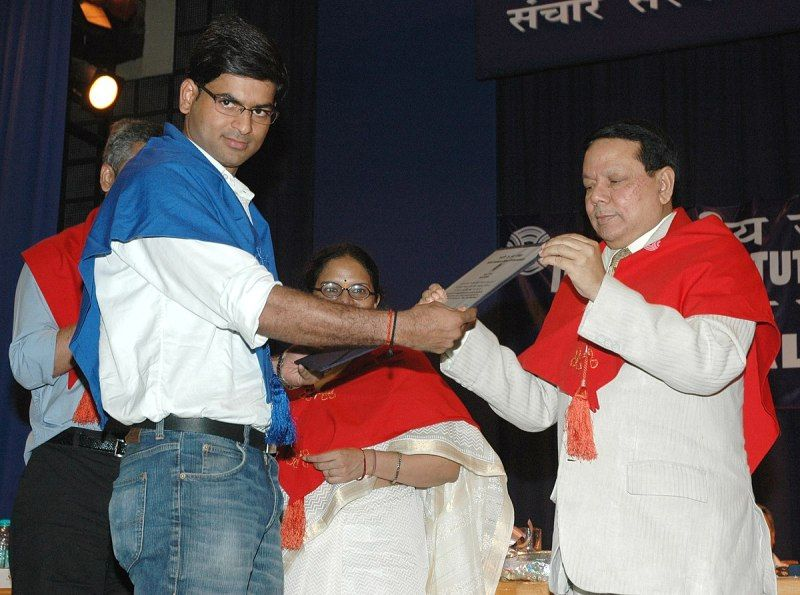 Saurabh Dwivedi receiving the Post-Graduate Diploma Certificate in Journalism at the 40th Convocation for PG Diploma Programmes of Indian Institute of Mass Communication (IIMC) in New Delhi