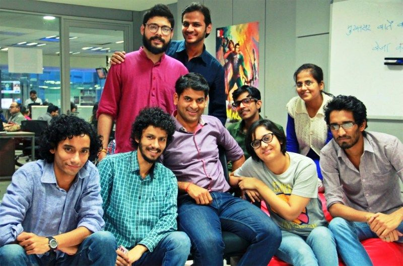 Saurabh Dwivedi at The Lallantop office with a few members of The Lallantop team