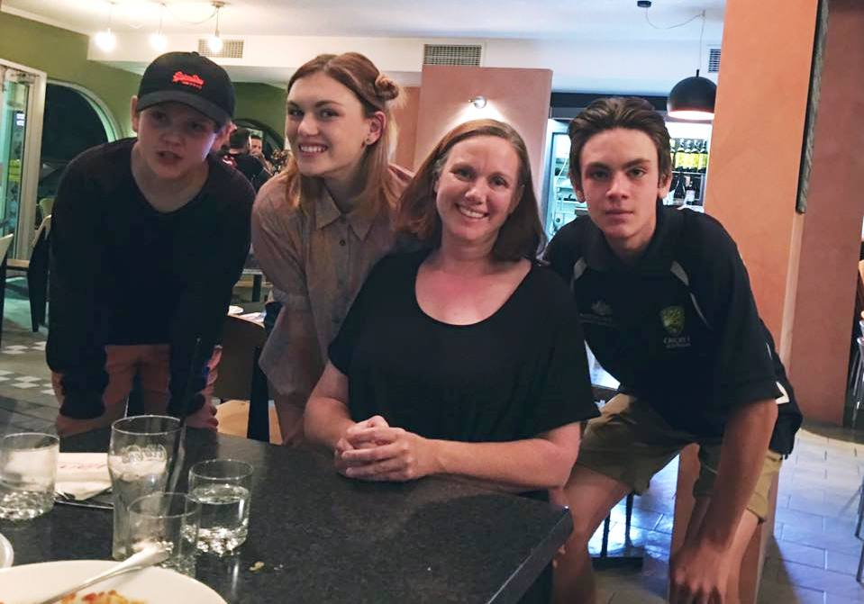 Shannon Berry with her mother and brothers