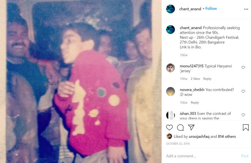 Sumit Anand's childhood picture posted on Instagram