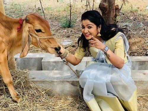 VJ Chitra with a Cow