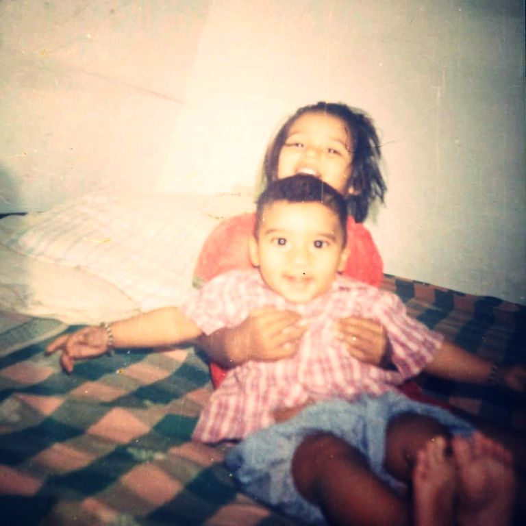 A childhood picture of Shashank Singh with his sister, Shrutika